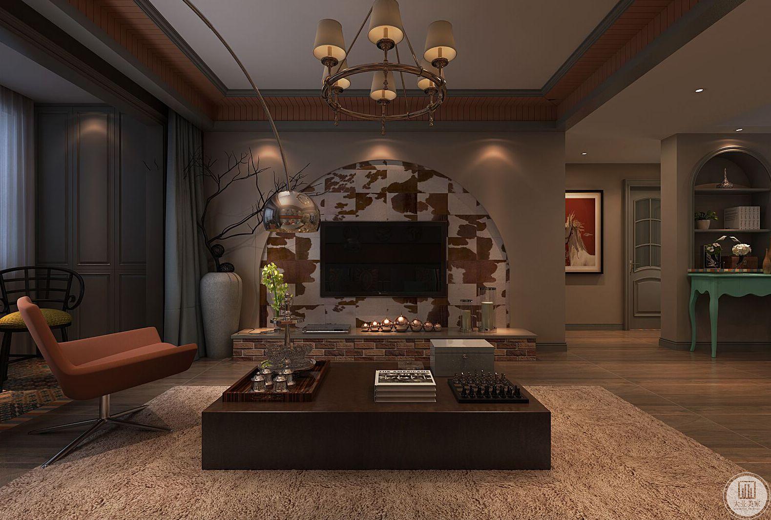 客厅装修效果图:影视墙做成砖墙效果,电视柜去掉做成类似砖墙。