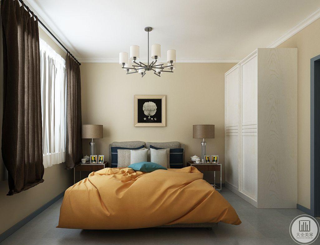 次卧室装修效果图:瓷砖采用浅蓝色,床头柜都是简单金属框架,衣柜次用白色实木。