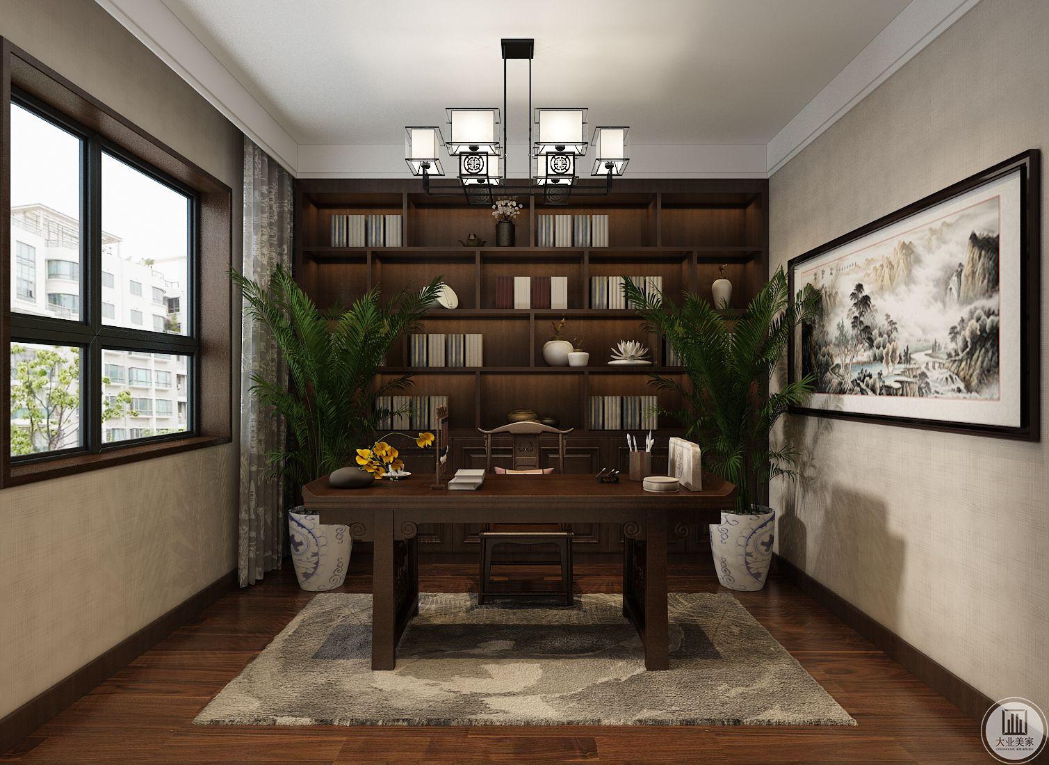 书房装修效果图:书房书桌都采用实木装饰,椅子两侧摆放绿植。