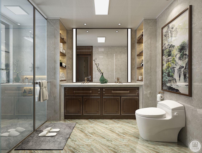 卫生间干湿分离,地面以大理石为主,马桶采用壁挂式节约空间。