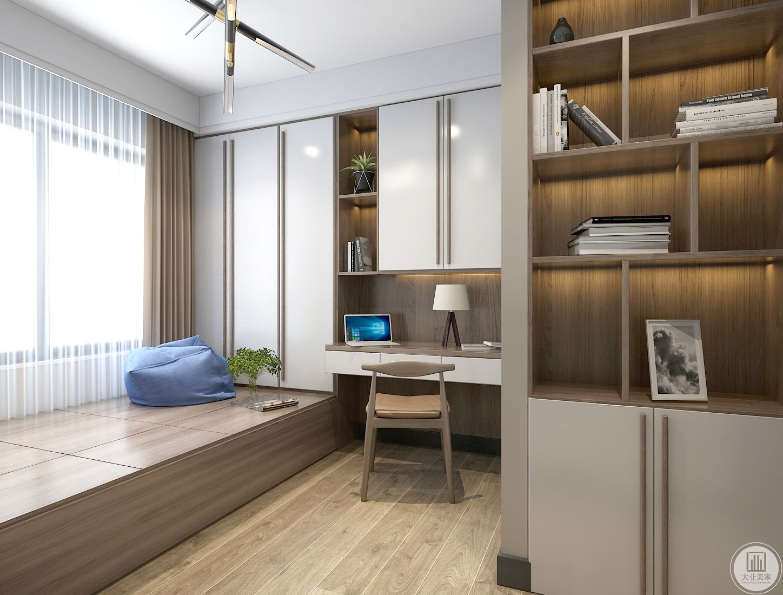 书房使用榻榻米,整体采用实木隔音效果墙,可以安静地学习工作。