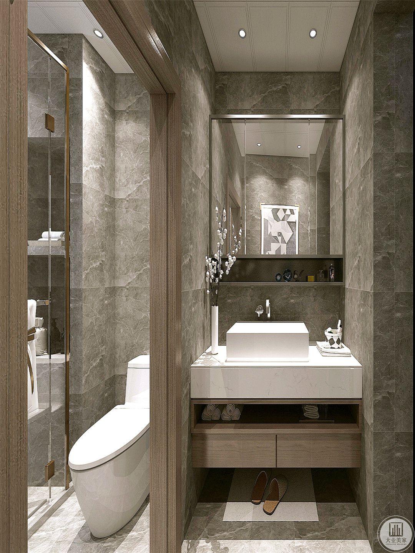 卫生间利用原本的隔断形成自然的干湿分离。
