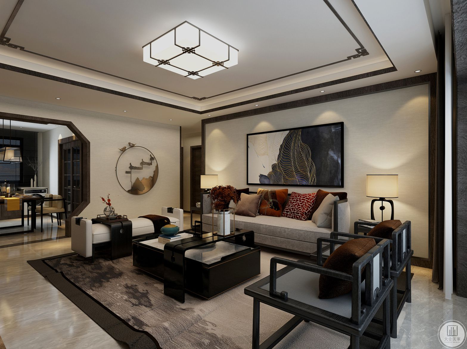 济南鼎秀家园158平米新中式风格装修效果图