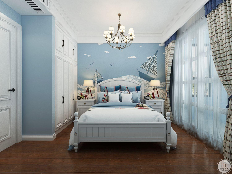 次卧室采用地中海风格整体使用蓝色。