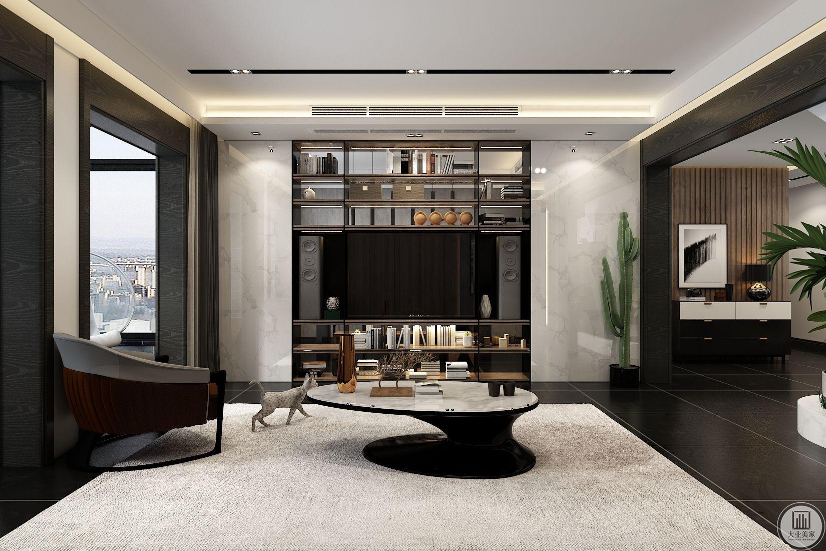 客厅装修效果图:电视嵌入陈列柜,增强收纳空间,两侧用白色瓷砖装饰,右侧摆放绿植。