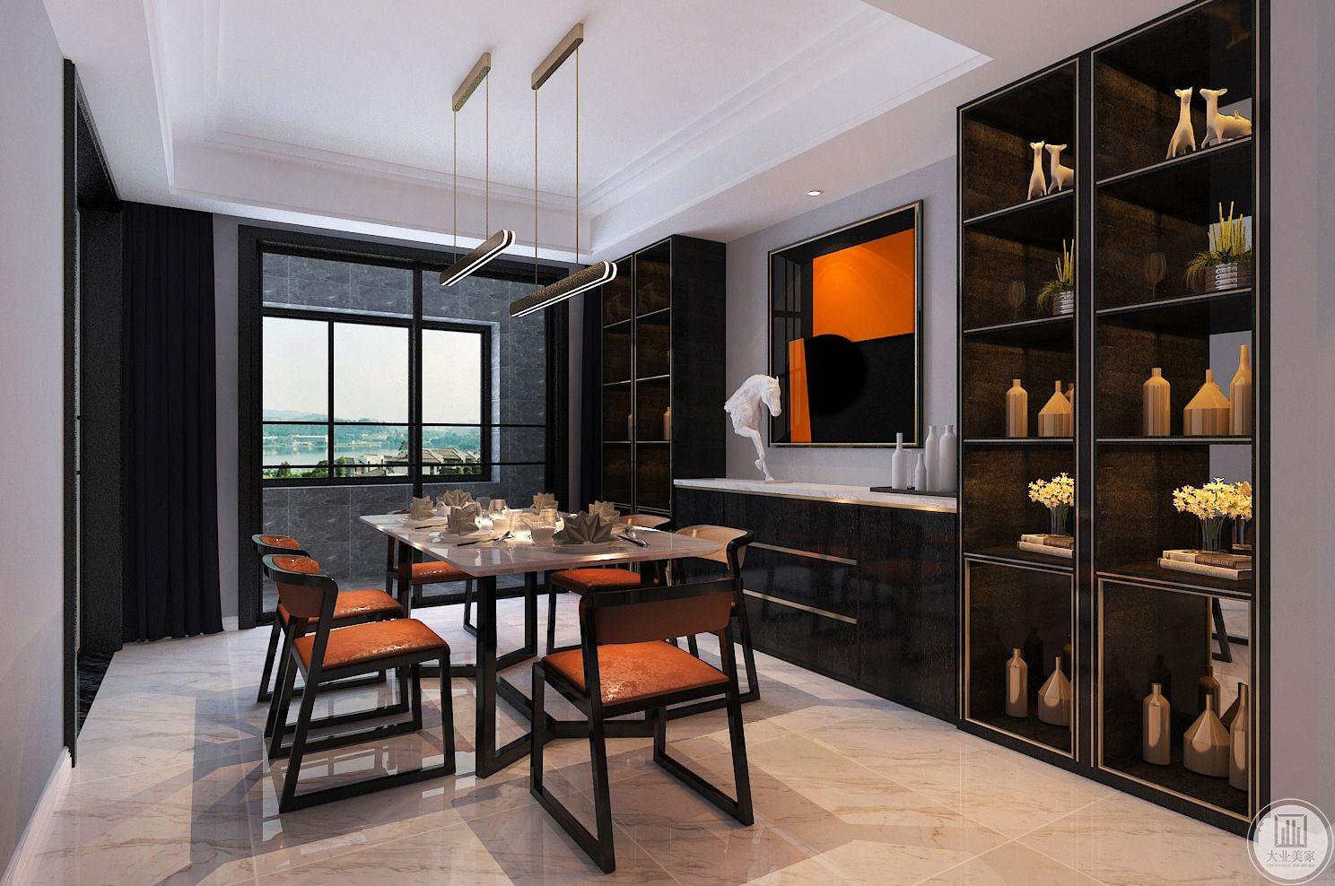 餐厅装修效果图:餐椅的造型与纹理,没有繁复,没有杂念,搭配白色的大理石桌面,摩登简约的吊灯,表现出优雅的风范和质感。