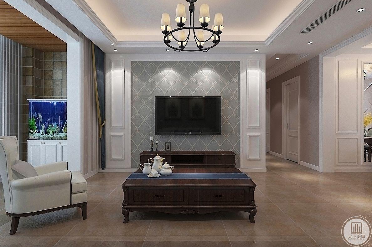 客厅装修效果图:影视墙采用了温暖的浅绿色背景,茶几采用的是棕色实木稳重大气,地面采用原木色瓷砖温馨优雅。