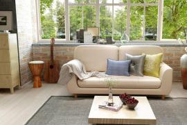 济南大业美家分享客厅皮沙发效果图片,可盐可甜的高级感!