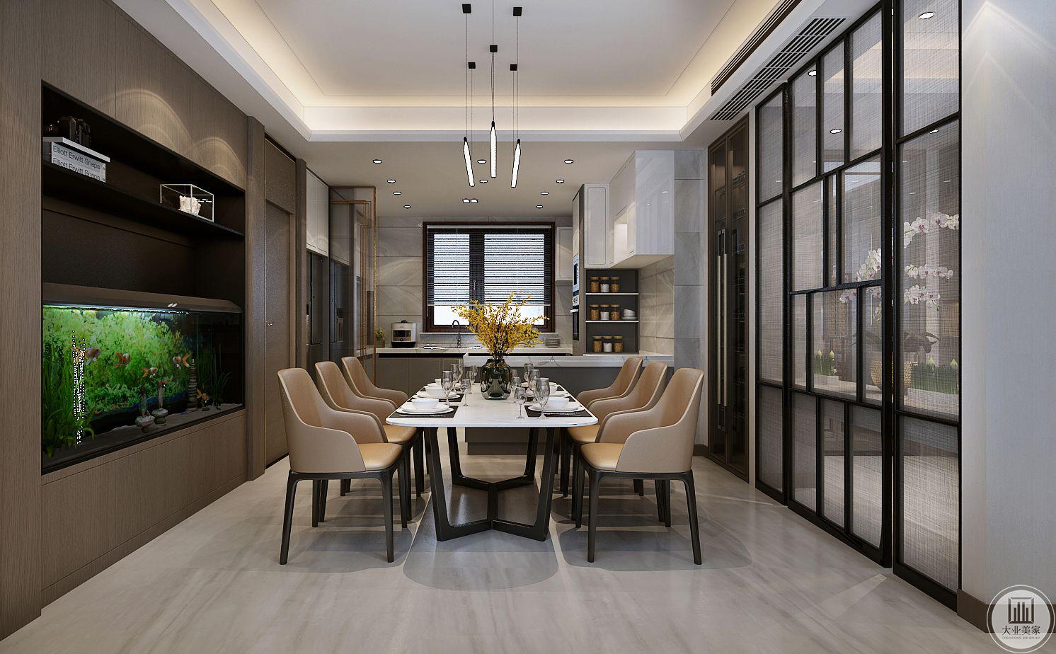 餐桌餐椅采用现代风格的样式,厨房门采用黑框玻璃门。