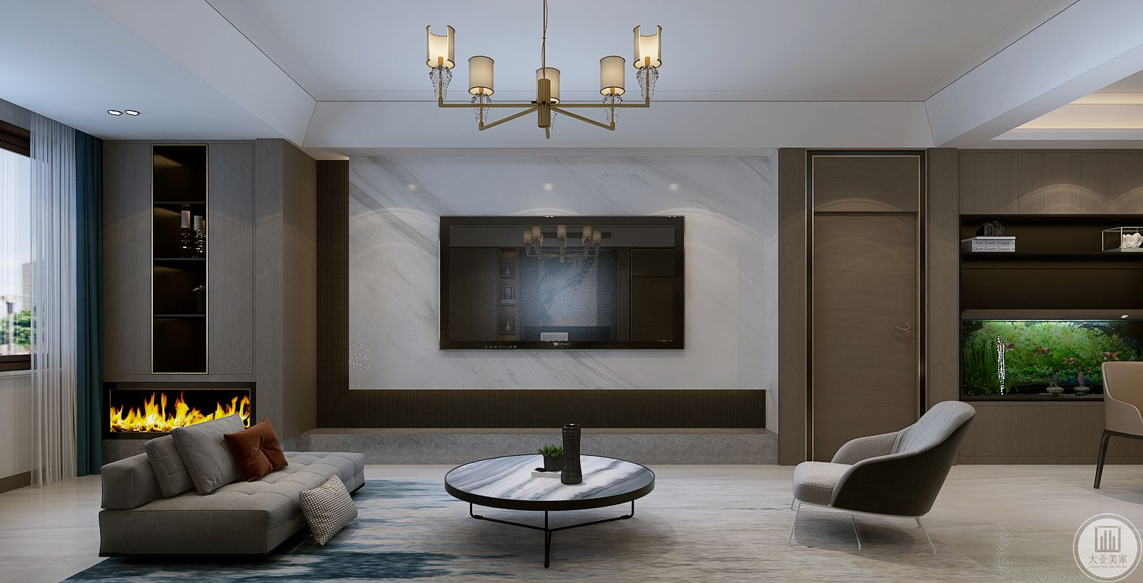 电视挂在影视墙上,影视墙采用瓷砖,电视下面增加大理石台面作为收纳。