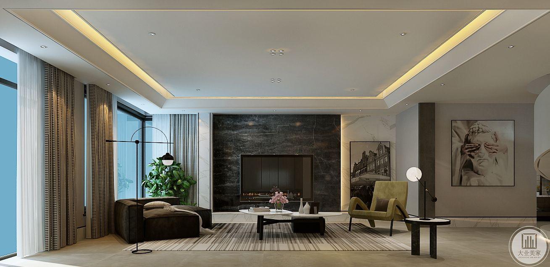 客厅影视墙采用黑色大理石装饰,地面采用浅色瓷砖,搭配黑白相间的地毯搭配。