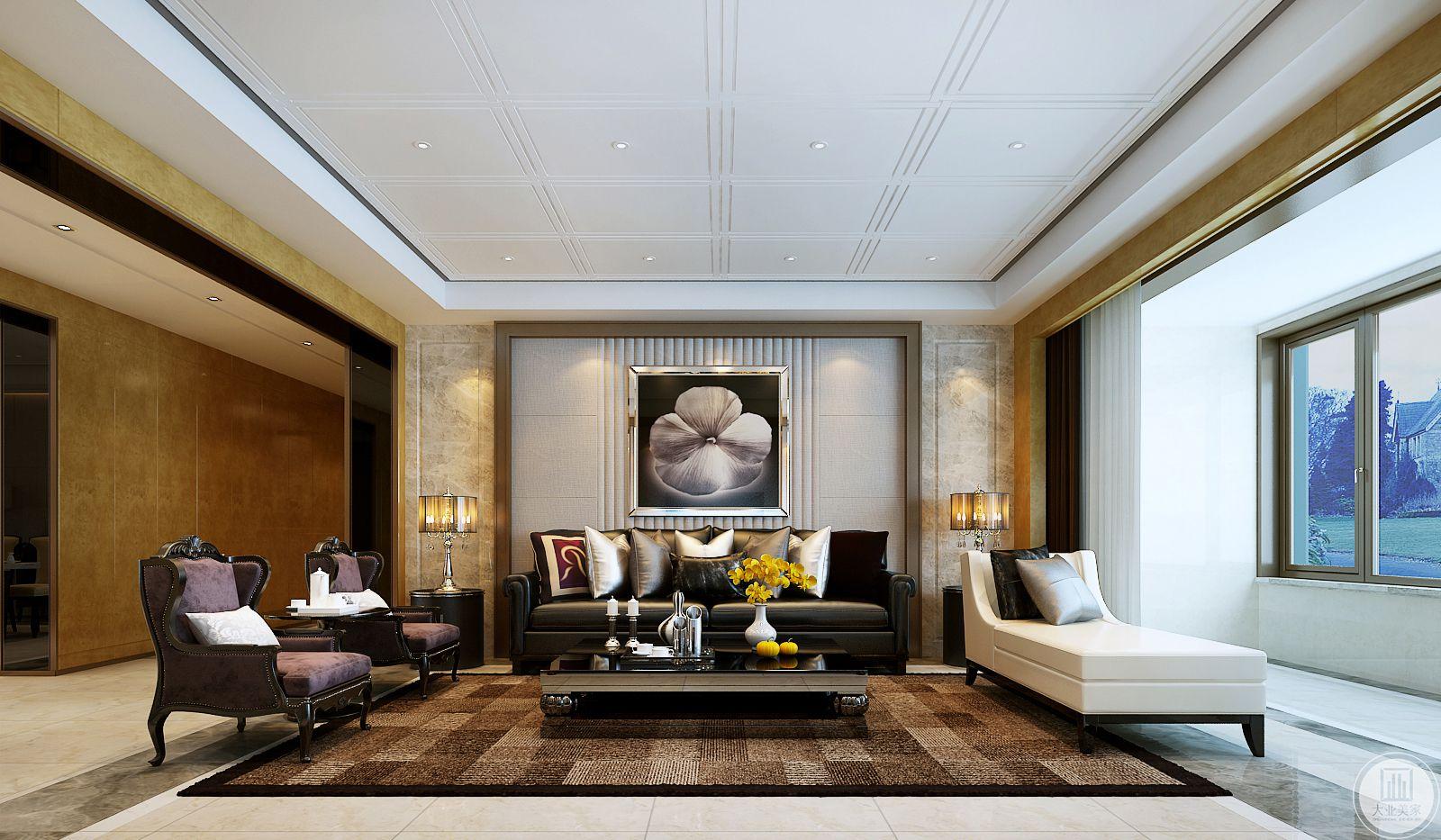 客厅沙发墙采用浅灰色壁布做护墙板,墙面使用现代风格的装饰画,沙发采用黑白互相搭配的真皮沙发,茶几采用金属框架,地面铺浅色瓷砖搭配深棕色地毯。