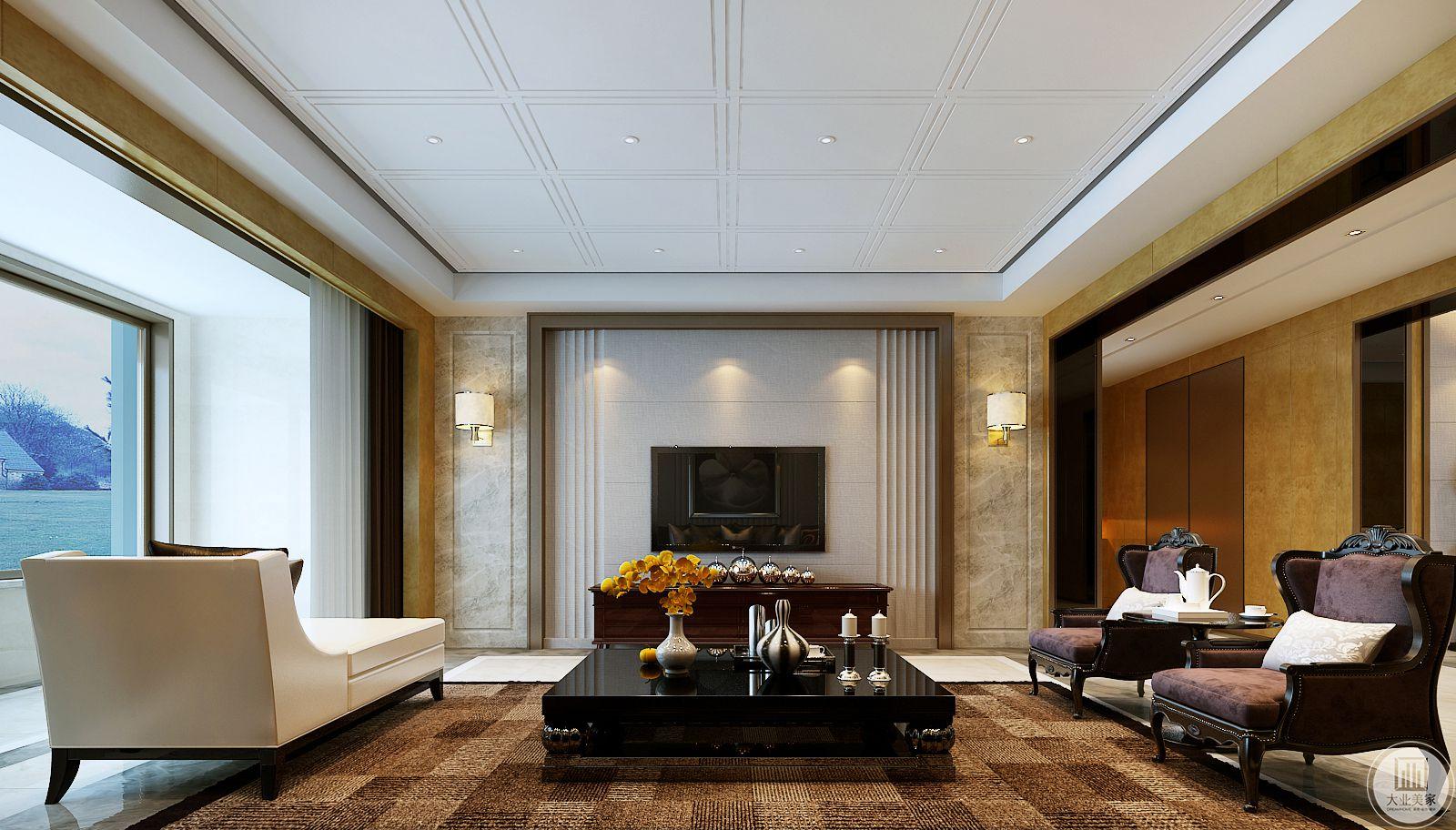 影视墙采用相同的浅灰色壁布装饰,电视柜采用红木制作。