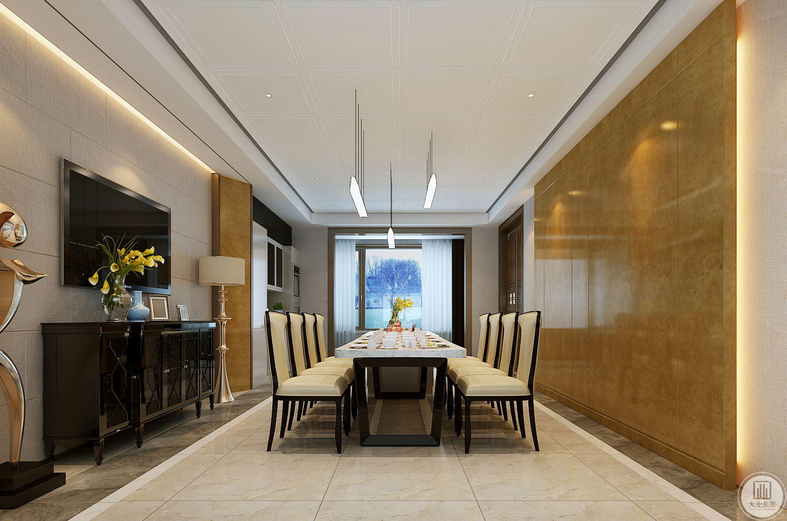 餐厅的餐桌采用现代简约的风格,一侧的墙面采用电视搭配黑色电视柜,墙面采用木纹砖装饰。