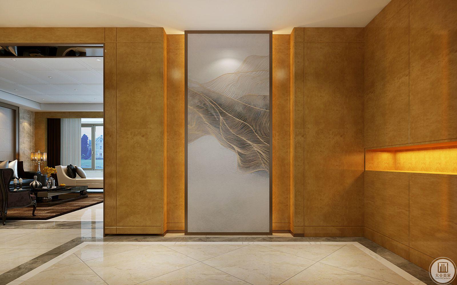 客厅入户使用了充满了现代感装饰画。