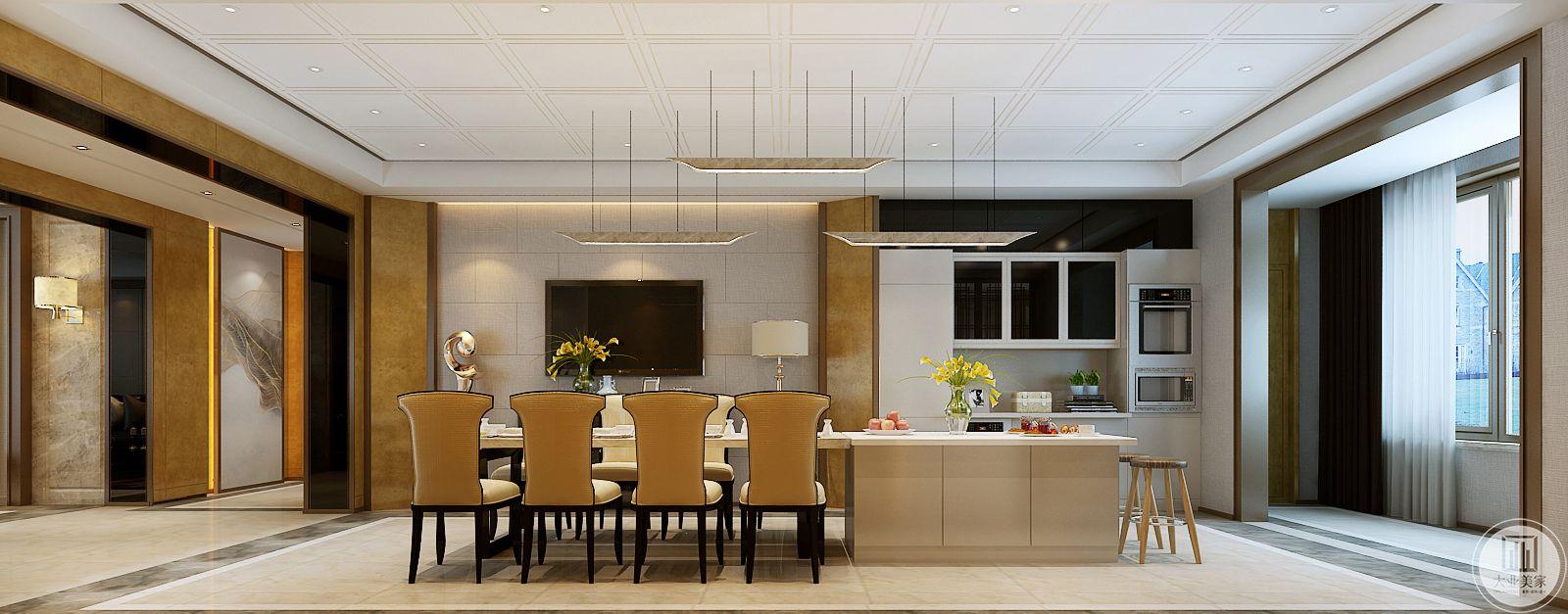 餐桌的一侧是中岛,为了增加实用性,节约厨房空间。