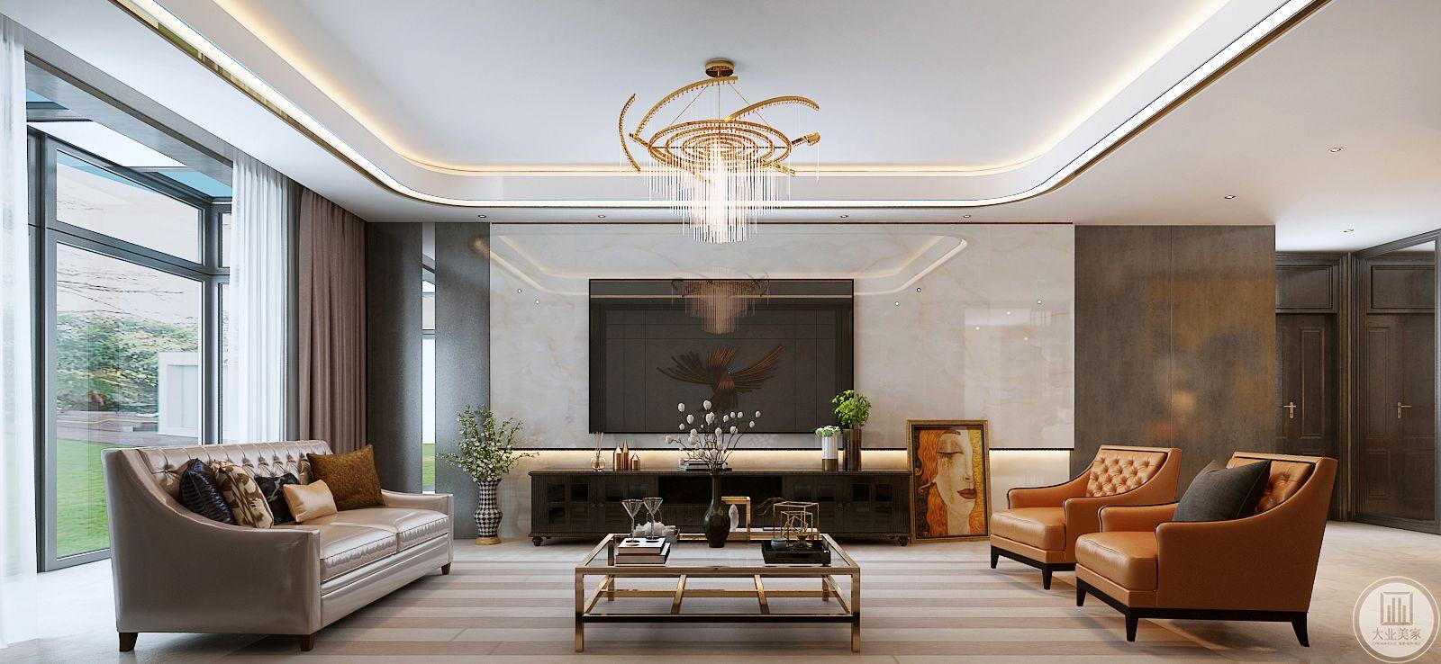 影视墙采用白色瓷砖,电视柜采用黑色实木装饰。