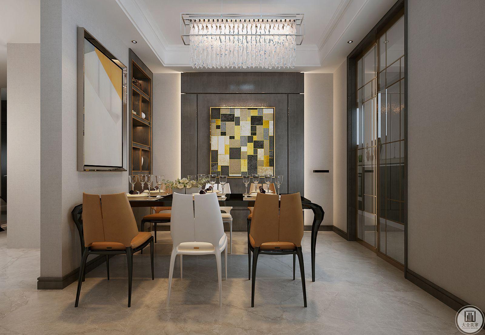 餐厅采用黑色实木框架,餐椅采用黄白搭配,更具现代时尚感。