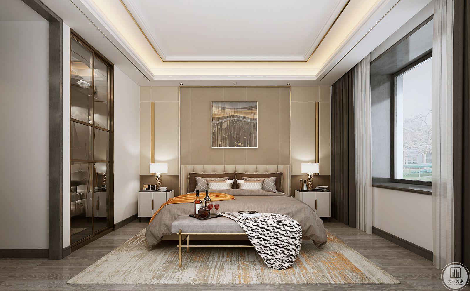卧室地面铺深色木地板,搭配浅黄色地毯,床头背景墙采用浅色木质护墙板,墙面使用现代抽象画。