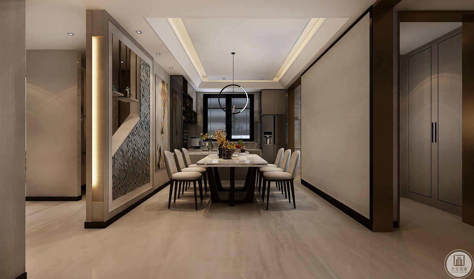 餐厅的餐桌餐椅都采用现代风格设计,餐桌桌面采用大理石,一侧墙面采用浅黄色壁纸装饰。