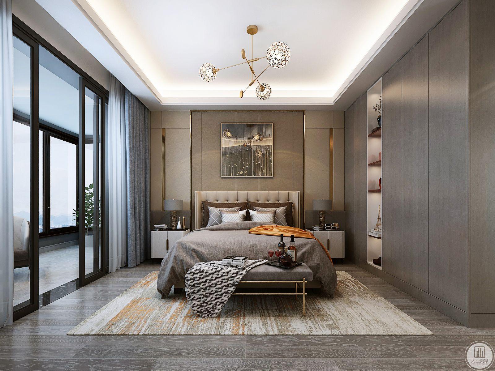 卧室地面采用深灰色木地板,搭配白色地毯,床头背景墙采用深色实木护墙板,一侧橱柜采用深色实木材料。