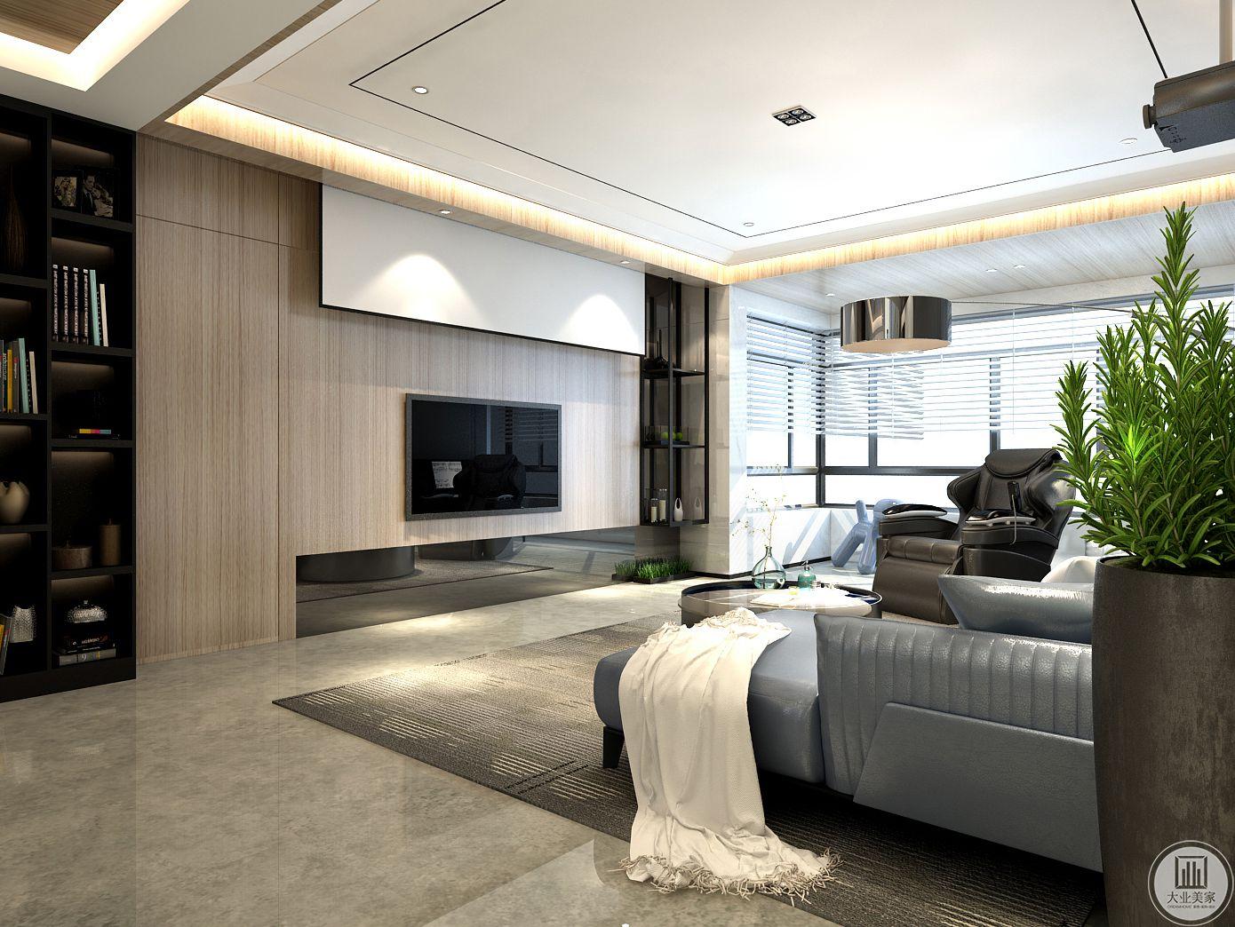 影视墙采用实木护墙板,同时增加投影仪,两侧分别做书柜和黑框金属置物架,增强收纳替代电视柜。