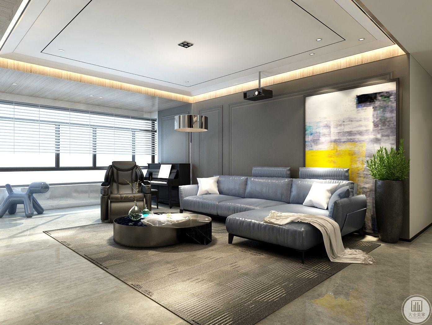 客厅沙发采用真皮沙发,搭配黑色金属茶几,沙发墙采用石膏线装饰画采用现代风格抽象画装饰。