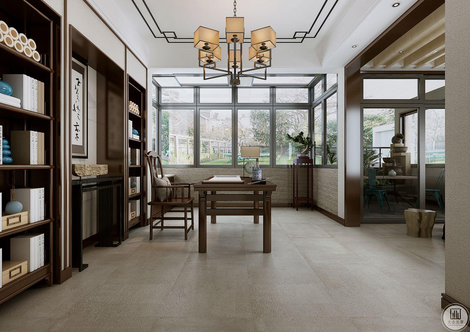 书房地面采用花纹砖,书桌书柜都采用深色实木材料,一侧的阳台做天窗。
