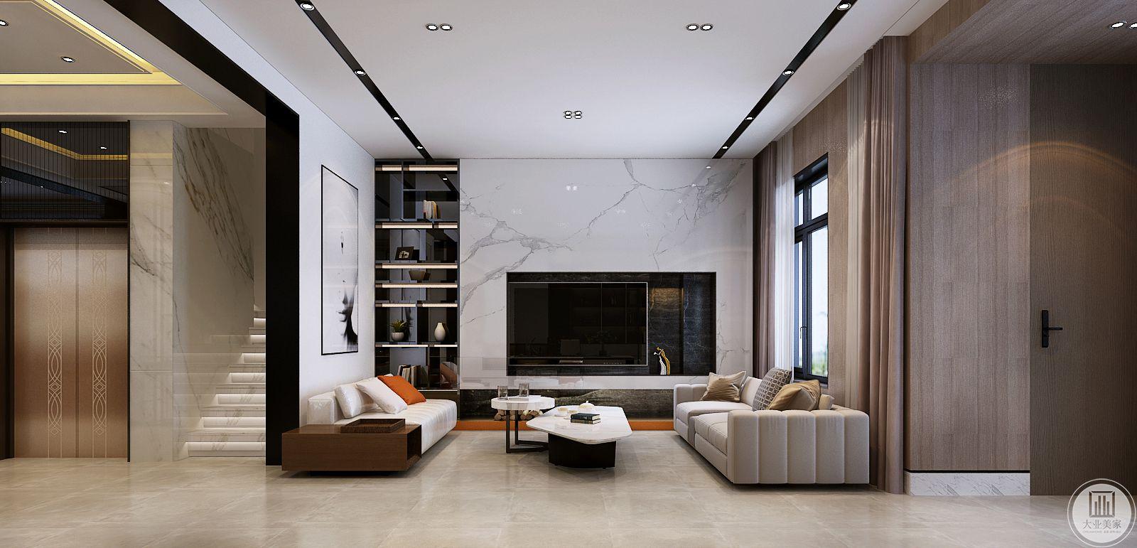 影视墙采用白色大理石,电视机所在的位置以及附近的小部分掏空,形成自然的收纳空间。