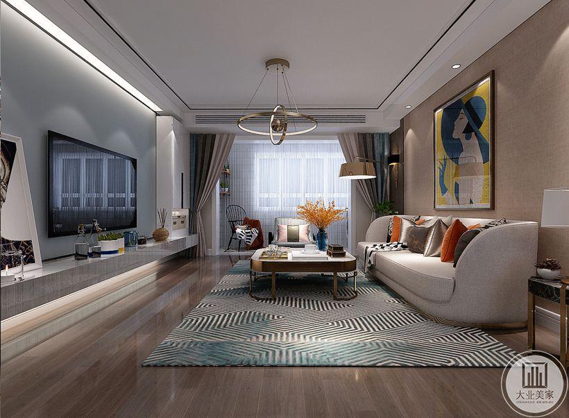 沙发墙采用浅黄色壁纸,墙面采用现代抽象画装饰,沙发采用布艺沙发,搭配白色茶几。