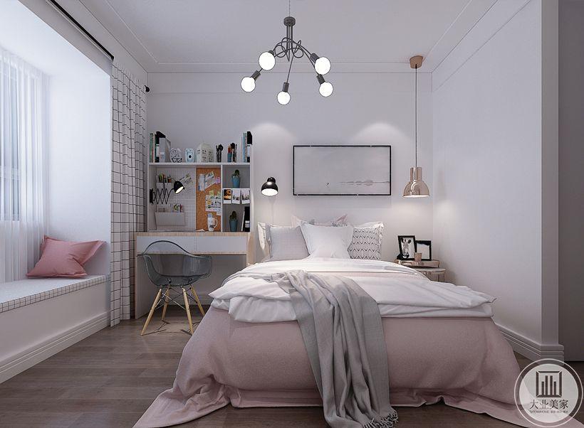 儿童房床头背景墙不作颜色装饰,墙面采用现代风景画,床的两侧一侧放置床头柜,靠窗的一侧放置实木书桌,窗户采用飘窗的设计。