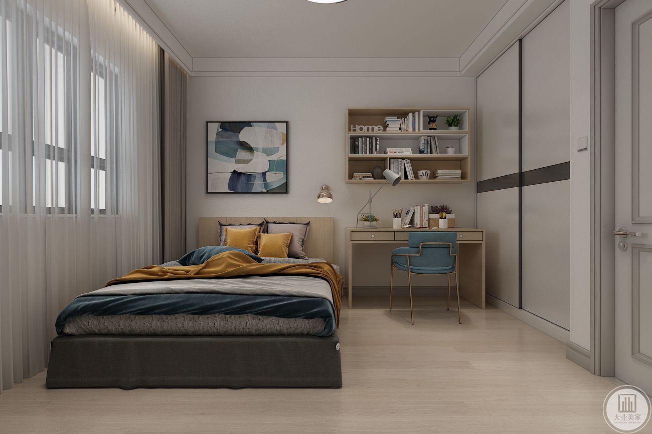 次卧床头背景墙也不采用其他颜色装饰,床的一侧采用实木书柜,入室门的一侧采用简约推拉门。