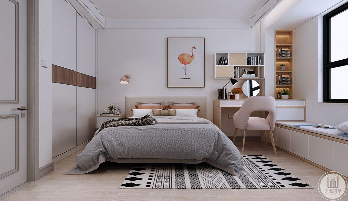 主卧室床头背景墙没用任何颜色装饰,墙面采用动物装饰画,靠窗的一侧采用实木书桌,窗户下面采用榻榻米做装饰。