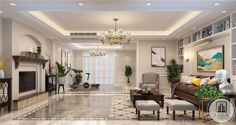 一楼客厅的休闲区和客厅的布局装饰。