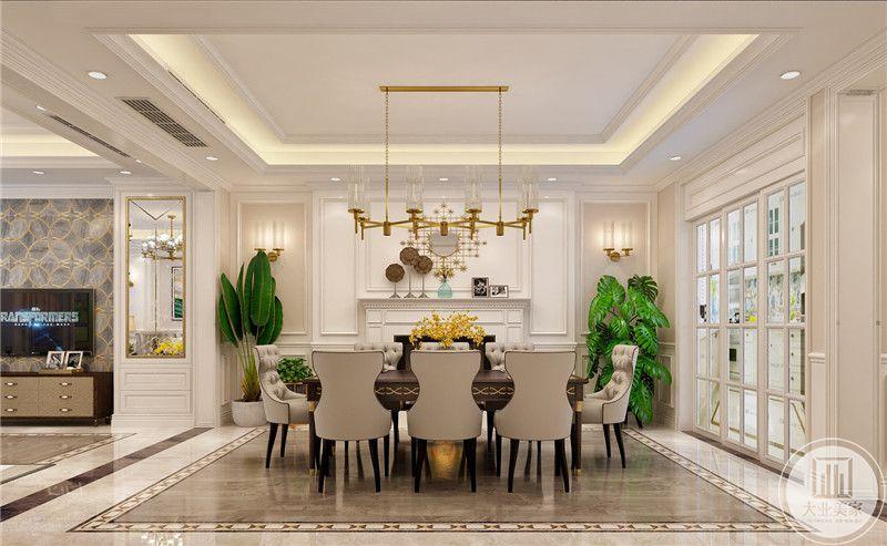 餐厅餐桌和餐椅都采用美式风格,一侧的墙面采用白色壁炉搭配石膏线,两侧采用绿植装饰。