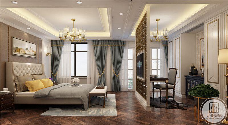 次卧室采用影视墙搭配电视的方式做分成两个区域,一侧可以休息另一侧可以学习工作。