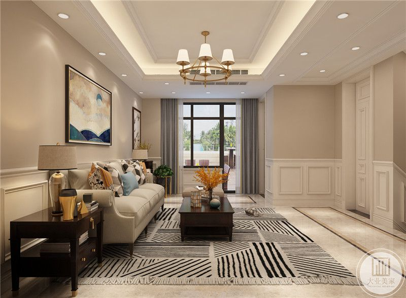 二楼客厅地面铺设白色瓷砖,搭配黑白相间的花纹地毯,从这个方向可以看到阳台。
