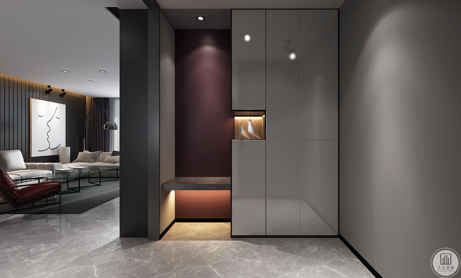 玄关入门用玄关柜的造型,做个空间的划分交代,让视觉在入门那刻,目光停留在,一个只为接自己而设立的生活仪式的过渡空间。