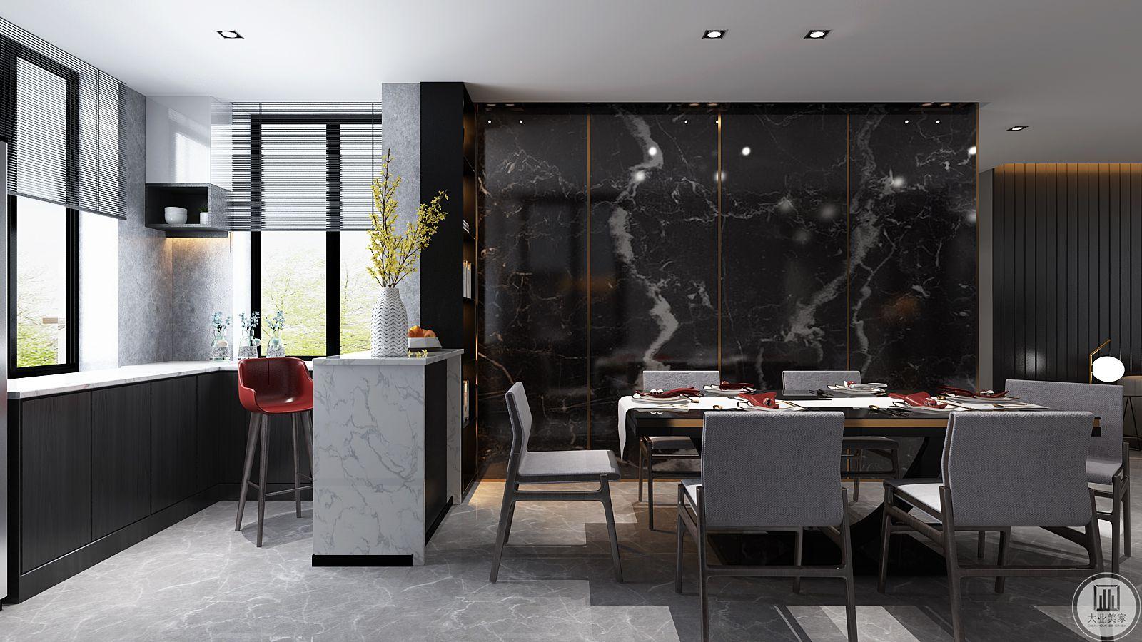开敞式的客餐厅连接在一起形成极开阔的空间,作为主要的交流和互动区域,拥有独立的空间却又保持感官上的交流,这也是对未来的生活方式的一另种诠释。