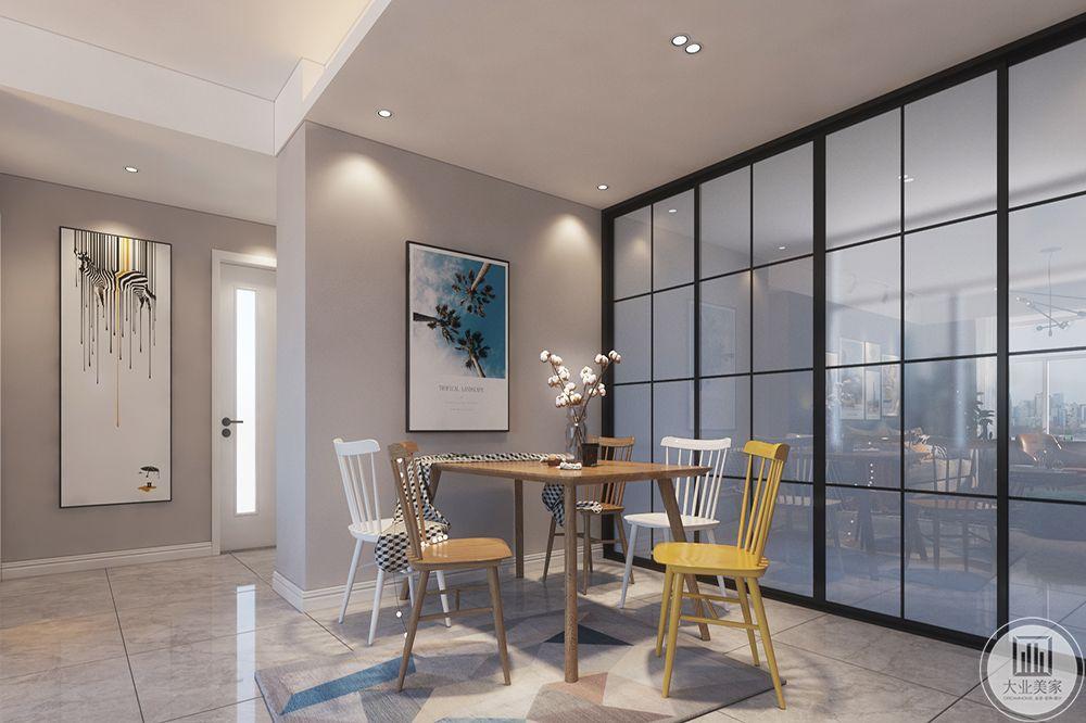 餐厅空间同样敞亮,一张大餐桌可供多人同时就餐,餐桌和餐椅的款式同样简单而不浮华,球形吊灯温馨而充满个性。
