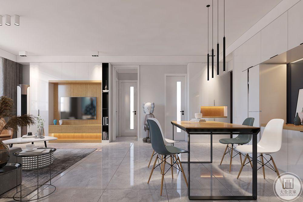 客厅用了金色的几何样式做灯和墙面部分的装饰,与餐厅相呼应。