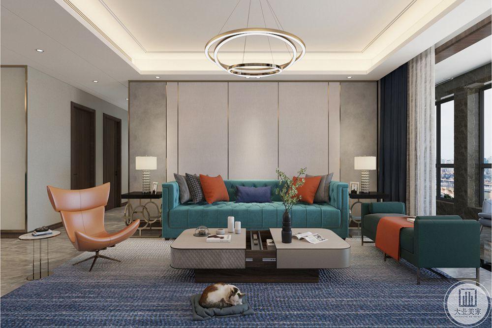 客厅墙面用石材、墙板做造型,丰富空间层次。通过顶面及地面造型,划分功能空间。