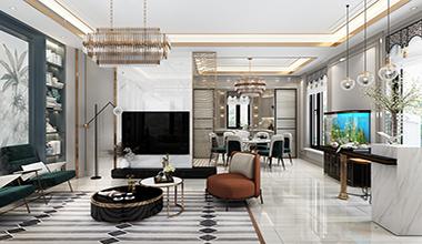 诺德名府微墅区160平美式风格装修效果图