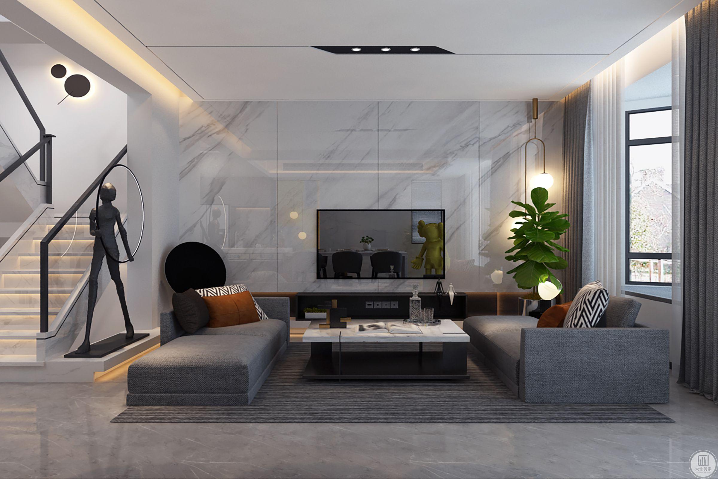 客厅柔软的圆毯上安静的沙发对望着相邻的黑白分明的长条餐桌,和着曲调各异的背景音乐和智能灯光氛围,既可以享受喧闹的都市感,又能静静品味咖啡味道的静谧。