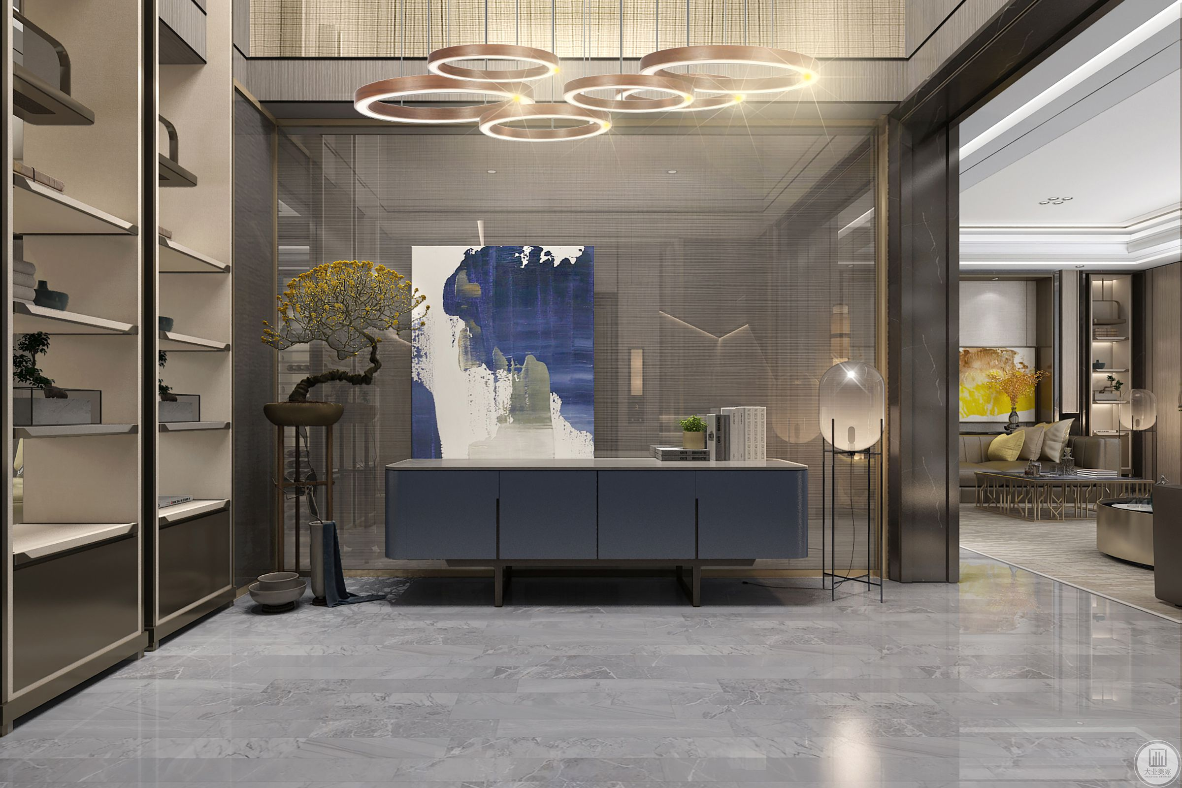 客厅空间处处都摆放着设计师精心设计的陈列品,如家具、灯饰和挂件,陈列着各种精致的中国物件,这些物件与现代的设计在恰当的空间邂逅,让现代设计蕴涵着深深的中国历史文化印迹,让古老的中国艺术焕发活力,这是设计师对中国元素准确的把握、运用和组合。