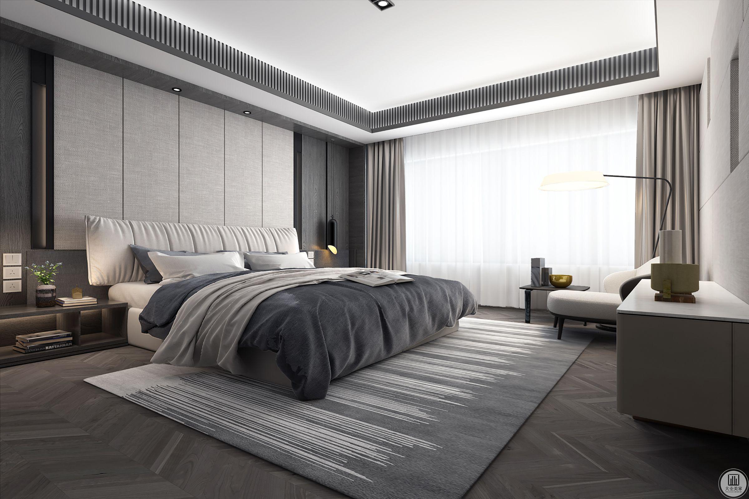 卧室空间在弘扬中华深后文化底蕴的同时,颠覆传统,注入新的元素,温心优雅的空间中透露出新中式的禅意和朴实。