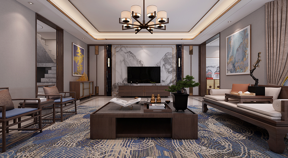 华润别墅320平现代中式装修效果图