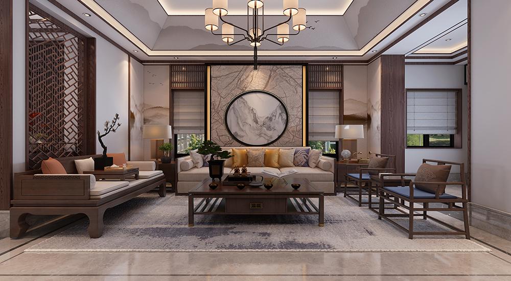 中海央墅480平现代中式装修效果图