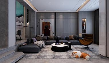 龙泉别墅360平现代轻奢装修效果图