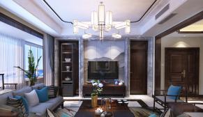 财富中心180平现代中式风格装修效果图